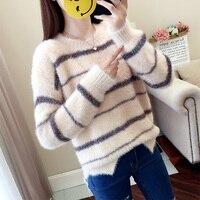 MUMUZI Autumn Winter Sweater Women Long Sleeve Pullover Women Striped Sweaters Women 2018 Korean Style Knit Mink Fur Tops Femme