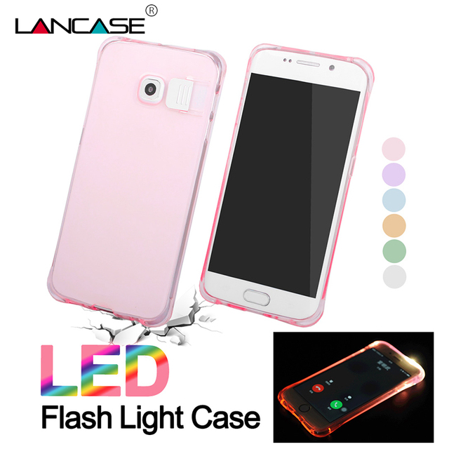 separation shoes 839bd 3c77a US $2.56 |LANCASE For Samsung Galaxy S7 Edge Case LED Flash Luminous Soft  Silicone TPU Case For Samsung Note 5 Note 4 S7 S6 Phone Cases-in ...