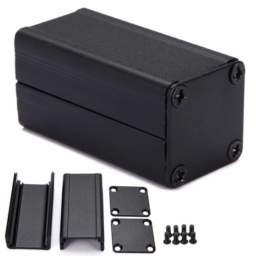 Extruded Aluminum Electronic Project Box Black DIY Power Supply Units Enclosure Case 50*25*25mm electronic project box 44 5 h x482 w x200 l mm extruded aluminum enclosures black high quality and cheap cost aluminum case