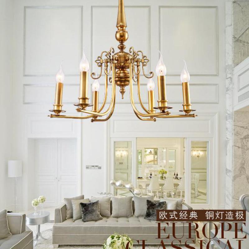 Lartin American 6-arm Copper Pastoral Chandelier Lighting Foyer bedroom Chandelier dining Room Copper Lamps Lustres E Pendent