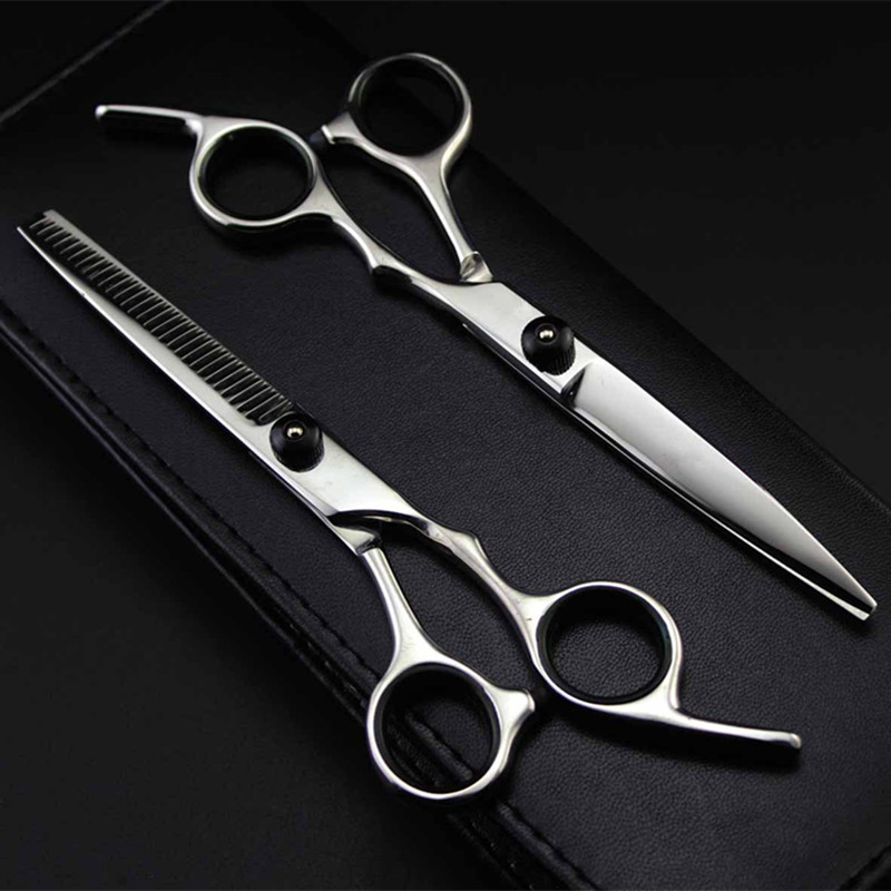 Professional Japan 4cr 6 Inch Black Cut Hair Scissors Haircut Sissors Thinning Barber Hair Cutting Shears Hairdresser Scissors