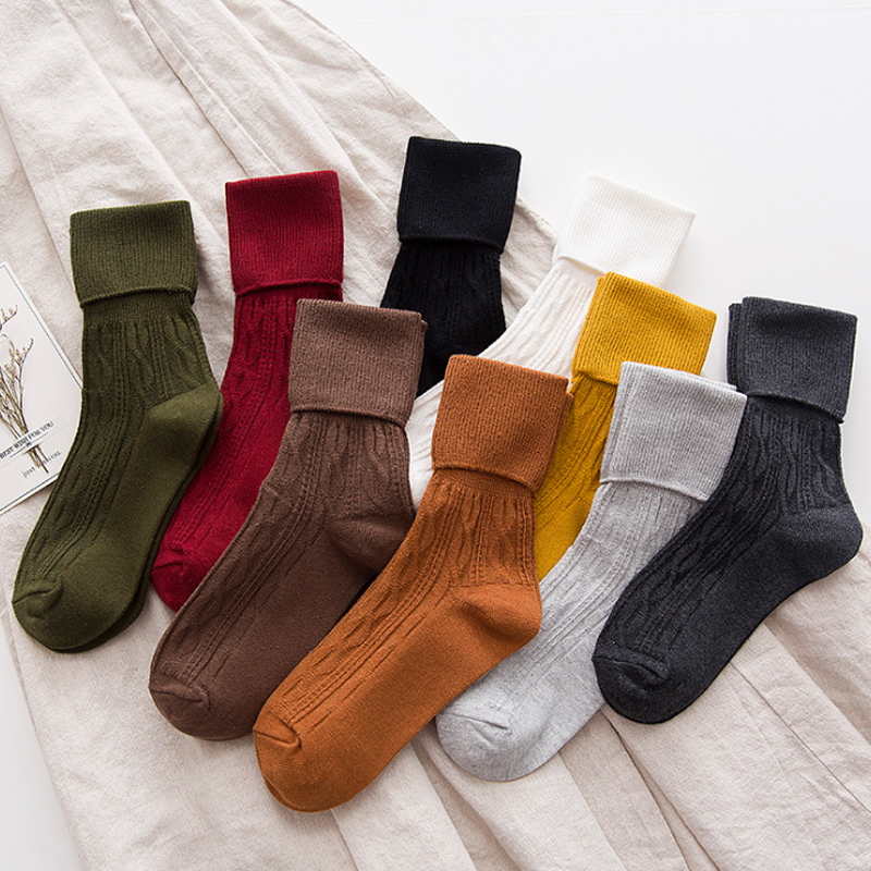 LNRRABC Solid Color Casual Fashion Women Warm Thick High   Socks   Dress   Socks   Pile Heap Crew   Socks