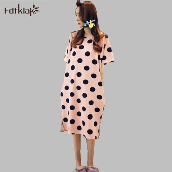 Summer Sleepshirt Night Dress Short Sleeve Cotton Nightgowns Indoor ...