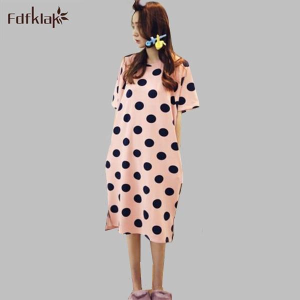 Summer   Sleepshirt   Night Dress Short Sleeve Cotton   Nightgowns   Indoor Clothing Girls Nightshirt Chemise De Nuit Tracksuit E0331
