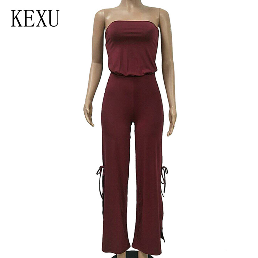 KEXU Summer Sexy Off Shoulder Sleeveless Jumpsuits Fashion Open Back Hollow Out Playsuits Women Elegant Split Macacao Feminino in Jumpsuits from Women 39 s Clothing