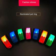 Nylon Led Reflective Pat-circle Toy Sports Slap Wrist Strap Band Wristband Light Flash Bracelet Glowing Night Running Armband(China)