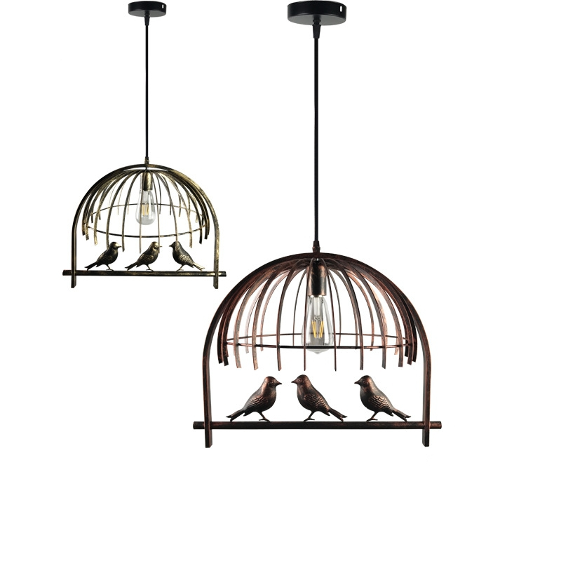 Retro Birdcage E27 Pendant Light Vintage Iron Industrial Wind Hanging Pendant Lamp for Dining Room Restaurant Bar Counter