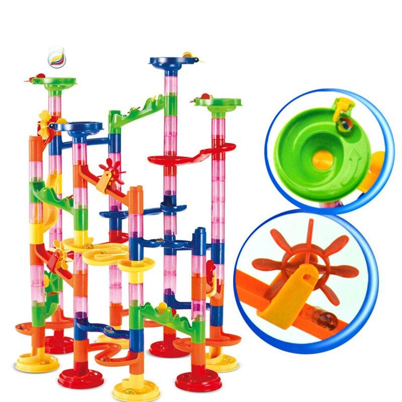 105 STÜCKE DIY Bau Marmor Rennen Labyrinth Bälle Track Bausteine Kinder Geschenk Für Baby Lernspielzeug