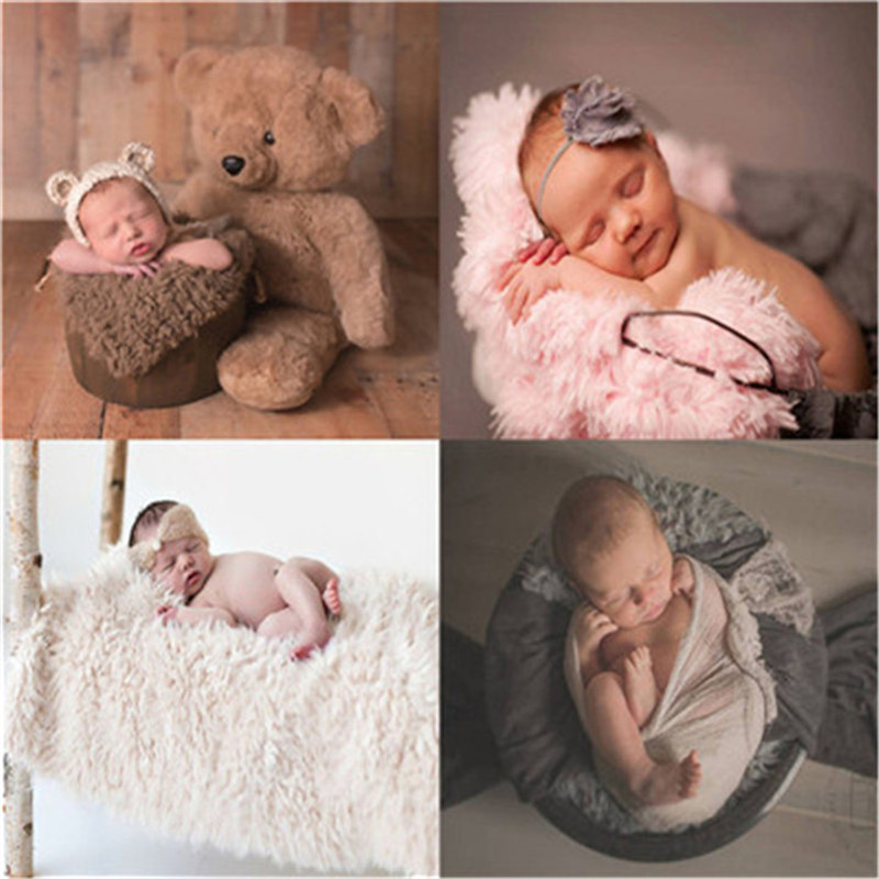 50*50 cm Neugeborenen Fotografie Decke Weichen Minky Faux Pelz Decke Baby Foto Requisiten Korb Füllstoff Stuffer Infant Foto hintergrund