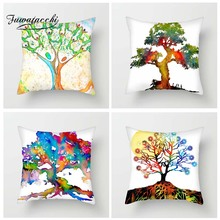 Fuwatacchi Colorful Trees Cushion Cover Green Red Life Tree Pillow Island Decorative Pillowcase For Sofa Home Decor