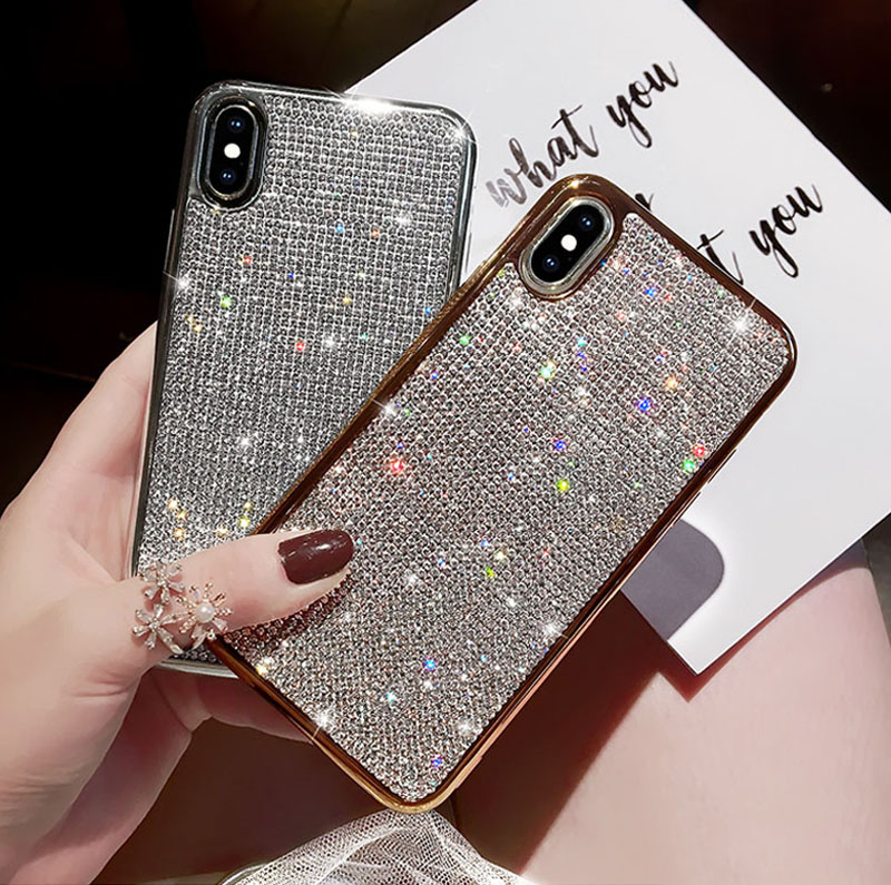 Bling Diamond <font><b>Case</b></font> For iPhone X XR XS MAX 7 6 <font><b>6S</b></font> 8 Plus Plating Side Glitter Cover For <font><b>Samsung</b></font> S10 Lite S7 <font><b>edge</b></font> S8 S9 Plus image