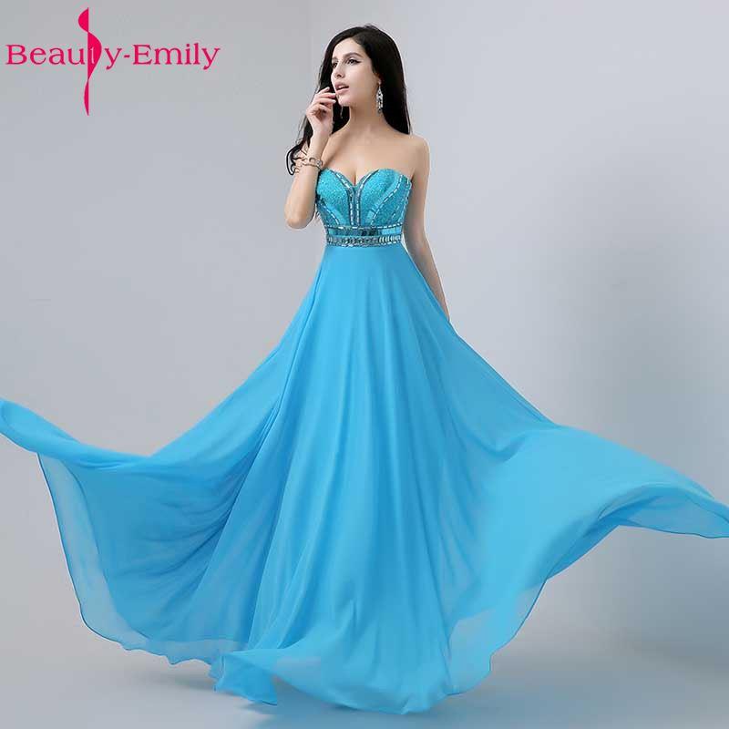 2017 Luxusní dámské luxusní modré bavlněné šaty s dlouhým - Šaty pro svatební hostiny - Fotografie 1