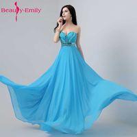 Beauty Emily Luxury Beading Women Cheap Blue Bridesmaid Dresses 2017 Wedding Party Dresses Long White Chiffon Party Prom Dresses
