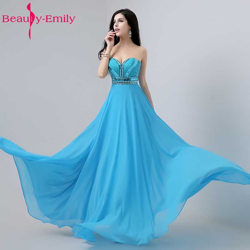 Beauty Emily Luxury Beading Women Cheap Blue Bridesmaid Dresses 2017 Wedding Party Dresses Long White Chiffon Party Prom Dresses