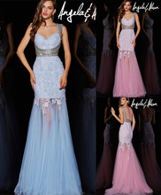 2017 High Quality Fashion Long Prom Dresses Custom Made Appliqued Tulle Evening Gowns vestido largo fiesta noche