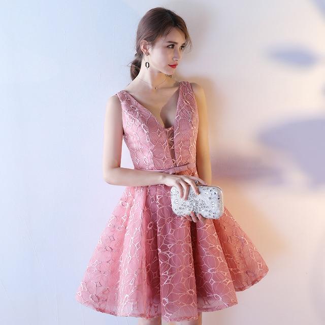e05ade4aa54 Bridesmaid dress sister dress 2017 pink short design fashion slim banquet  female one-piece dress V-neck sexy Bridesmaid Dresses
