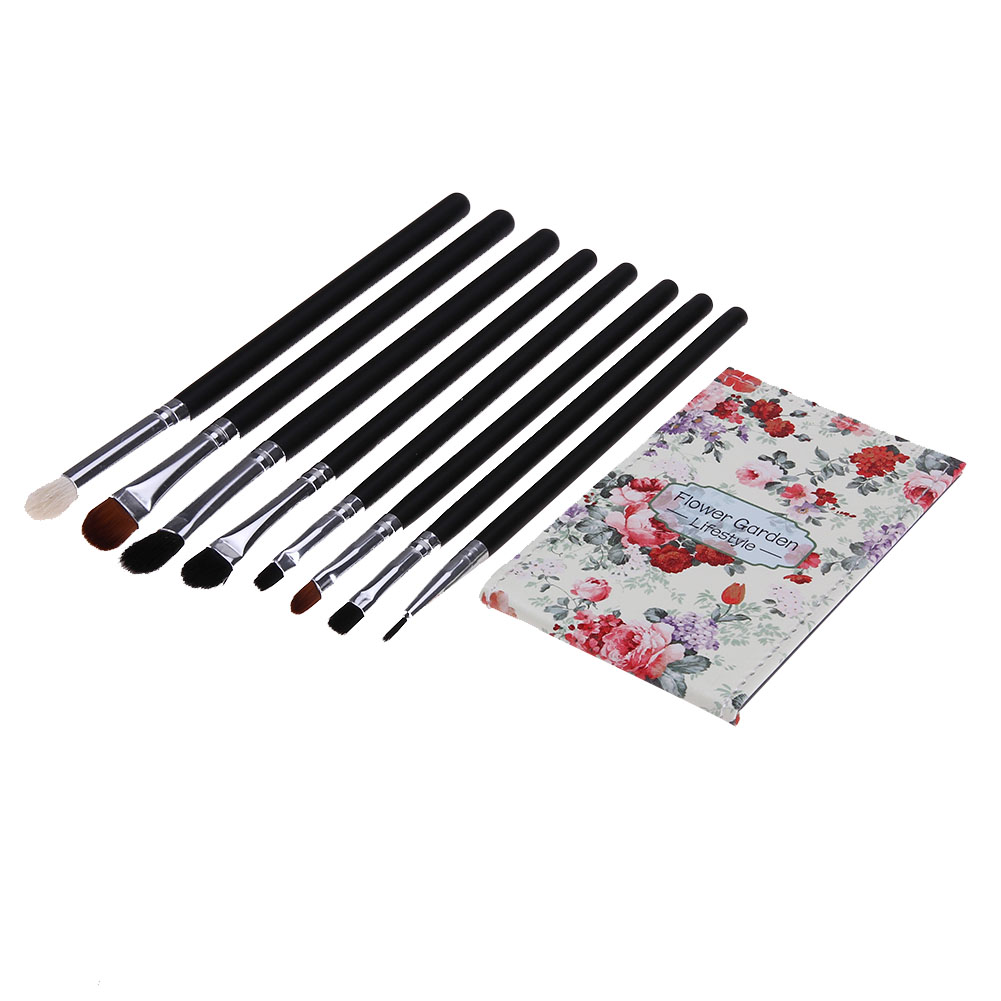 8pcs Pro Eye Shadow Makeup Brushes Set Powder Foundation Make Up Brushes High Quality Synthetic Hair With PU Leather Case Mirror sinle 24pcs pro makeup brushes set powder foundation eye shadow make up brushes high quality synthetic hair with pu leather case