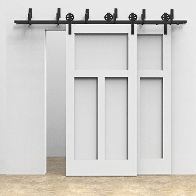 5 8FT Big Black Wheel Steel Sliding Barn Door Hardware Interior Door  Fittings Wardrobe Sliding