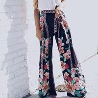 Çiçek Baskılı Yüksek Bel Geniş Bacak Pantolon Kadın 2018 Rahat Uzun Pantolon Bahar Yaz Plaj Gevşek Pantolon WS7440T