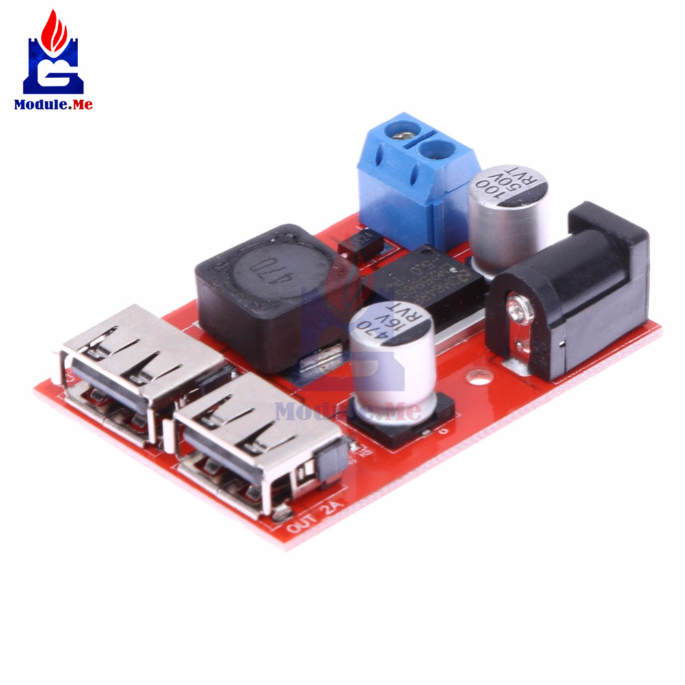 <font><b>LM2596</b></font> LM2596S Dual USB DC-DC 9V <font><b>12V</b></font> 24V 36V to 5V 3A Step Down Buck Converter Board Car Charger Solar Power Supply Module image