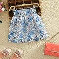 Primavera verão 2017 mulheres de moda de nova organza stripe magro cintura alta mulheres fita bolha saias saia vestido de baile