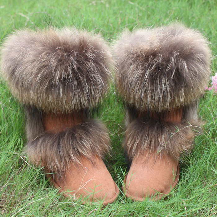 100% Nature Leather Fox Fur Winter Snow Boots Mid-Calf Top Quality Warm Shoes Woman Botas Femininas