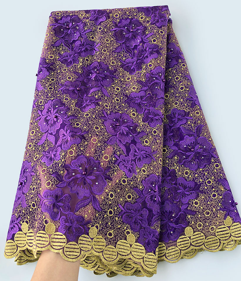 Purple Gold allover embroidery genuine french lace Swiss lace African tulle fabric very beautiful good choice