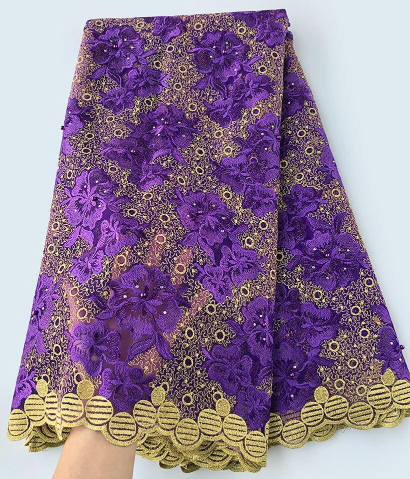 Viola Oro allover ricamo genuine francese pizzo Svizzero Africano del merletto di tulle tessuto molto bella di buona scelta 5 yards/pc
