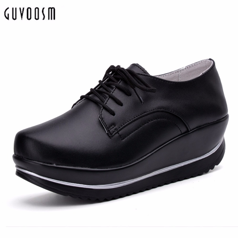 Guvoosm Genuine Leather Pumps Med Heel Shoes Woman Women Thicken Outsole Ladies Handmade Sapato Feminino Big Small Size31-44 2017 real top cover heel open casual sapato feminino melissa genuine big size retro solid square heel shoes woman ladies womens