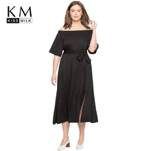 Kissmilk 2018 Plus Size Sexy Off-shoulder Women Dress Big Side Fork Lace Up Pleated Female Clothing Large Lady
