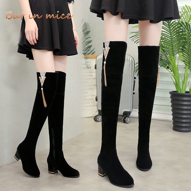 e3468c68d18 US $32.84 |women casual Winter Warm Snow Over the Knee boots shoes women  Zipper high heels pumps derss Thigh High Boots Mujer zapatos W680-in ...