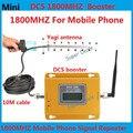 Conjunto completo de Mini LCD 2G 4G LTE 70db DCS 1800 MHz Móvel telefone celular impulsionador repetidor de sinal amplificador com yagi antena 13db