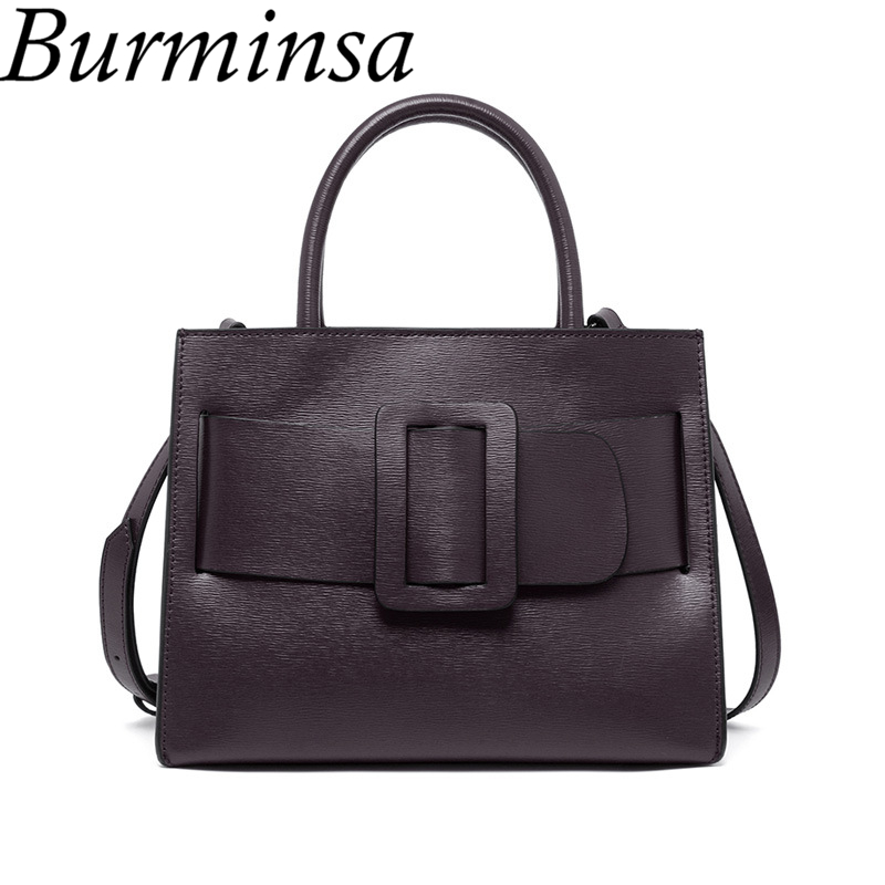 Burminsa Brand Genuine Leather Bags Designer Handbag High Quality Shoulder Bags Luxury Tote Bags For Women Bolsas Feminina 2017