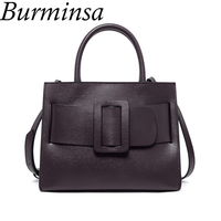 Burminsa Chic Belt Women Genuine Leather Handbags Designer Female Shoulder   Bags   High Quality Messenger   Bags   Luxury Purse 2018