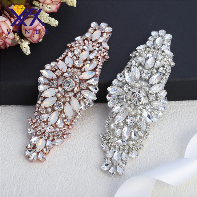 XINFANGXIU Wholesale 30 pcs sewing beaded silver  rose gold crystal  rhinestone appliques opal rion on sewing for wedding dress bd1250fef0c1