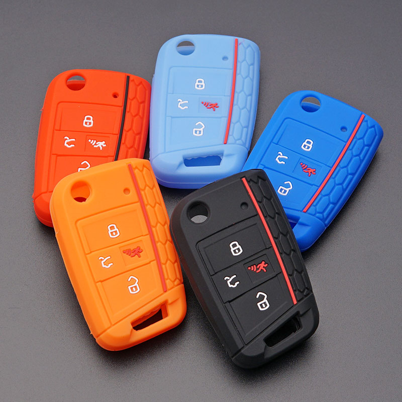 silicone key fob cover case shell skin VW 2016 2017 golf 7 ...