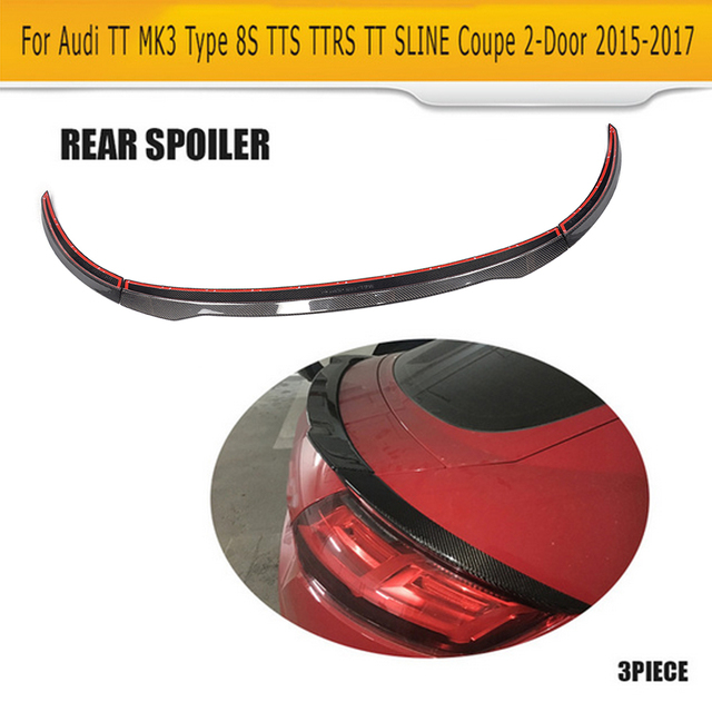Carbon Fibre Hinten Boot Lip Flügel Spoiler für Audi TT MK3 Typ 8 s TTS TTRS TT S Linie Coupe 2 tür 2015 2016 2017 3 stücke