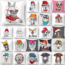 Beauty cute cartoon dogs animal pattern  pillow cases square home creative color cover 45*45cm