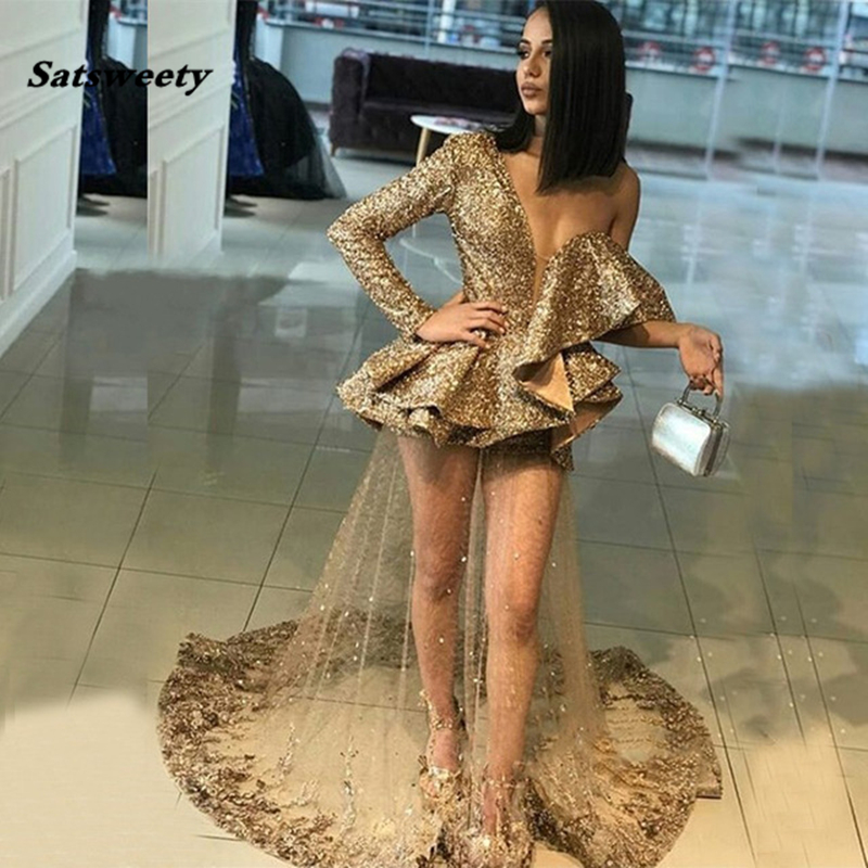 Sexy Gold Sequins   Prom     Dress   Single Long Sleeves Ruffles Tulle Appliques Sheer Women Party   Dresses   Evening Pageant Gowns