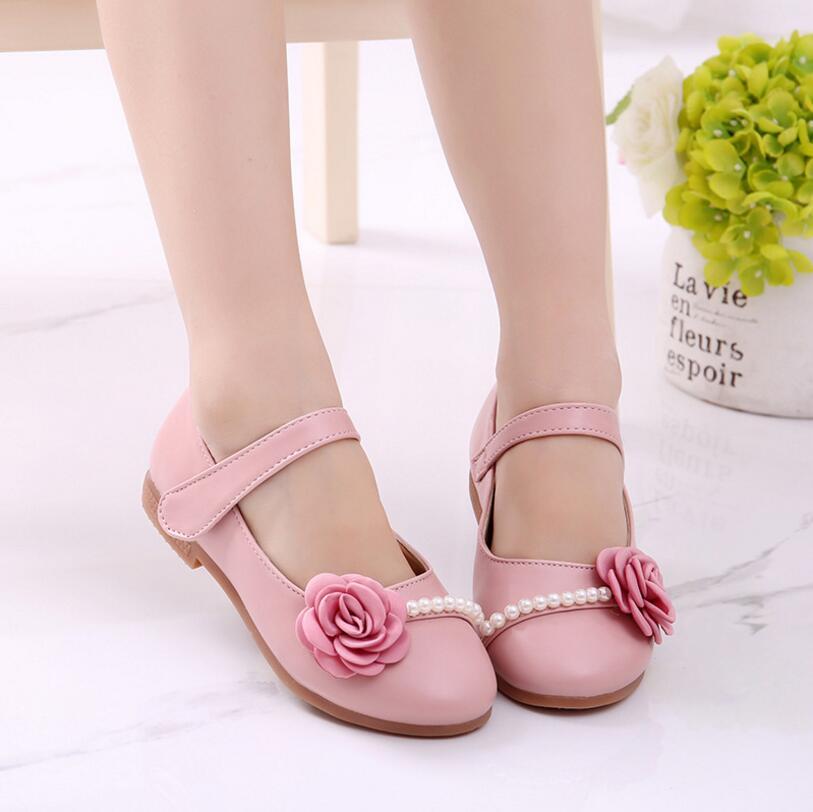 Sapatas da princesa menina primavera 2018 das crianças sapatos de couro da festa de casamento flores fundo macio crianças moda rosa sapatos meninas pérola