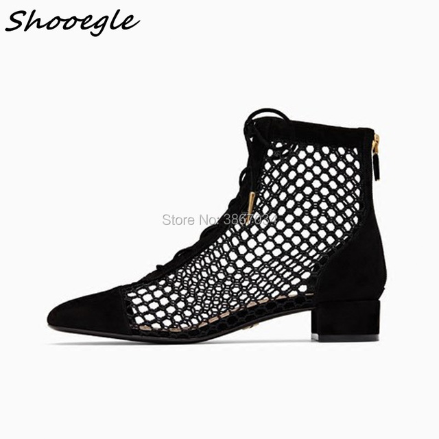 SHOOEGLE 2018 Summer New Runway Style Fashion Week Black Fishnet Mesh Ankle  Boots Lace Up Square Toes Thick Chunky Heel Booties bcd255f293d1