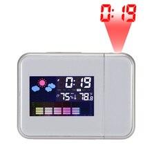 Reloj despertador Digital de escritorio con pantalla de Color para proyector Reloj de Proyección de tiempo multifunción calendario meteorológico reloj de tiempo