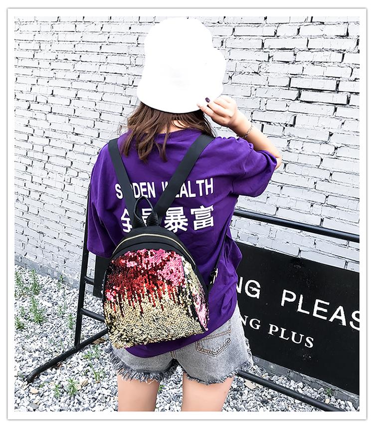 Backpacks women Korean mini 2018 new sequined shell fashion trend women go with small backpacks travel backpack 78