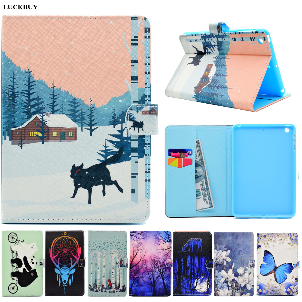 LUCKBUY For Apple iPad Mini Case Cute Animal flower pattern Leather Case cover For ipad Mini