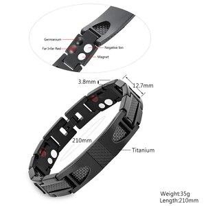 Image 2 - Escalus Magnetic Pure Titanium Black Bracelet For Men Carbon Fiber Stylist Germanium Charm New Bracelets Wristband