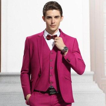New Arrival Groomsmen Notch Lapel Groom Tuxedos Hot Pink Men Suits Wedding Best Man Blazer (Jacket+Pants+Vest+Tie)