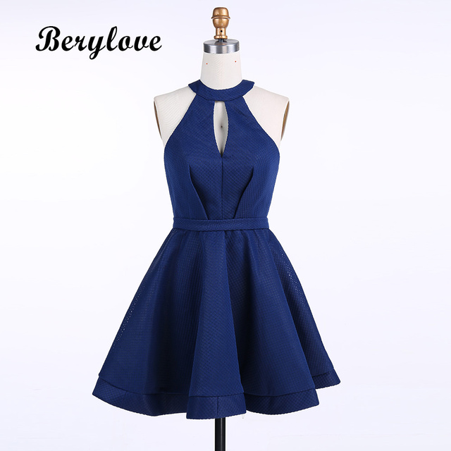 Berylove Short Dark Navy Blue Homecoming Dresses 2018 Simple Plus