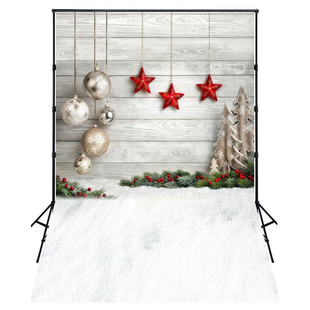 5X7FT Photo Background Photography Backdrop Props, Christmas Balls Stars