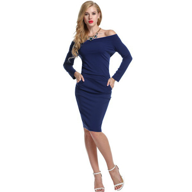 fb00dfef351ee Aliexpress.com : Buy Hot LIMITSTOCK Brand One Piece Slim Fit Off Shoulder  Dress Ladies Sexy Jersey Dresses Pockets S XXL Free Shipping from Reliable  ...