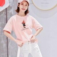 Katoen Cartoon Vrouwen Zomer Tees Shirt Voor Vrouwelijke Meisjes Kleding Koreaanse Japanse Top Streetwear Mode Femme Casual 2018